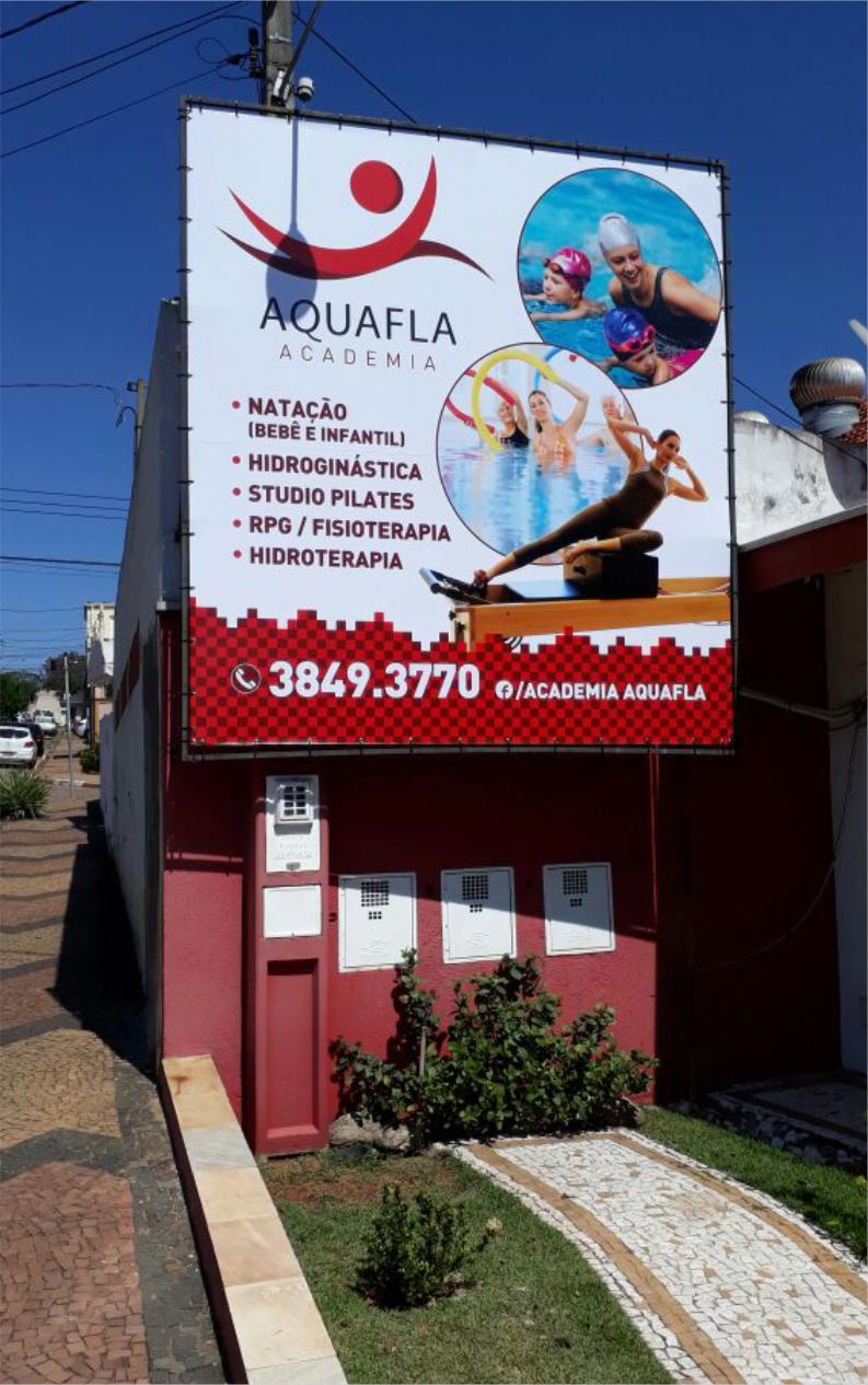 Lona da fachada Aquafla Academia