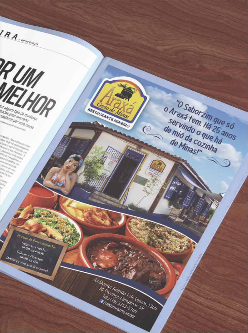 Anúncio da revista Metrópole para o restaurante Araxá