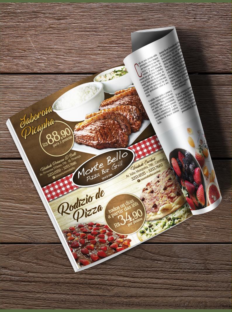 Anúncio de Revista para Metrópole da Monte Bello Pizza Bar Grill
